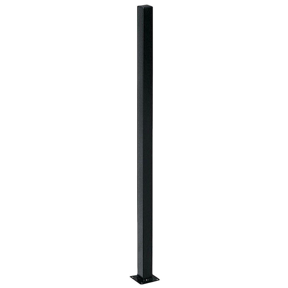 US Door & Fence 2 in  x 2 in  x 5 ft  Black Metal Fence Post with Flange  and Post Cap