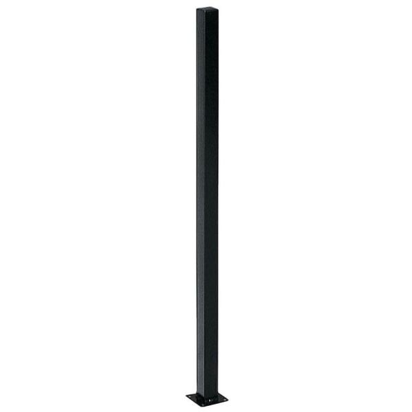 2 in. x 2 in. x 5 ft. Black Metal Fence Post with Flange and Post Cap