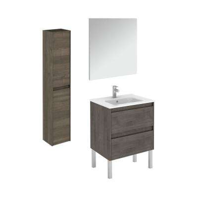 23.9 in. W x 18.1 in. D x 32.9 in. H Bathroom Vanity Unit in Samara Ash with Mirror and Column