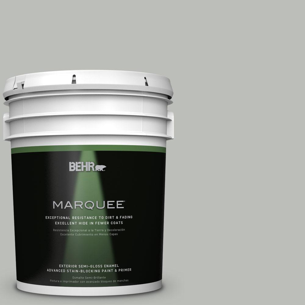 5 gal. #PPU24-17 Hailstorm Gray Semi-Gloss Enamel Exterior Paint