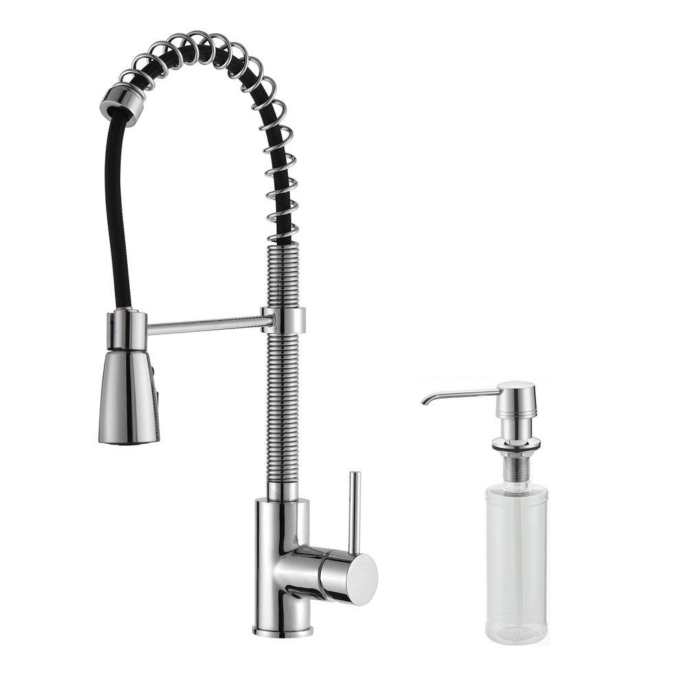 Commercial-Style Single-Handle Pull-Down Kitchen Faucet with Three-Function