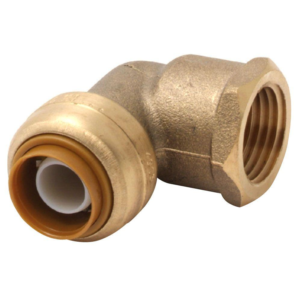 In brass push to connect female pipe thread