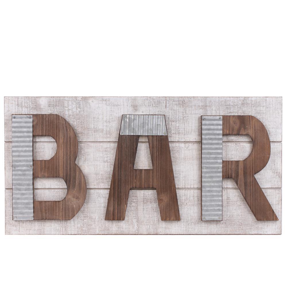 "13.75 in. x 28.50 in. ""Bar"" Printed Wall Art"