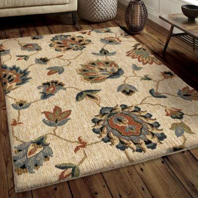 Floral Beaches Plush Beige 8 ft. x 11 ft. Area Rug