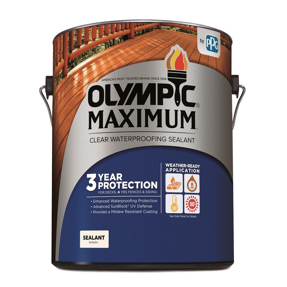 Olympic Maximum 1 Gal Clear Exterior Waterproofing Sealant 57500a 01 The Home Depot