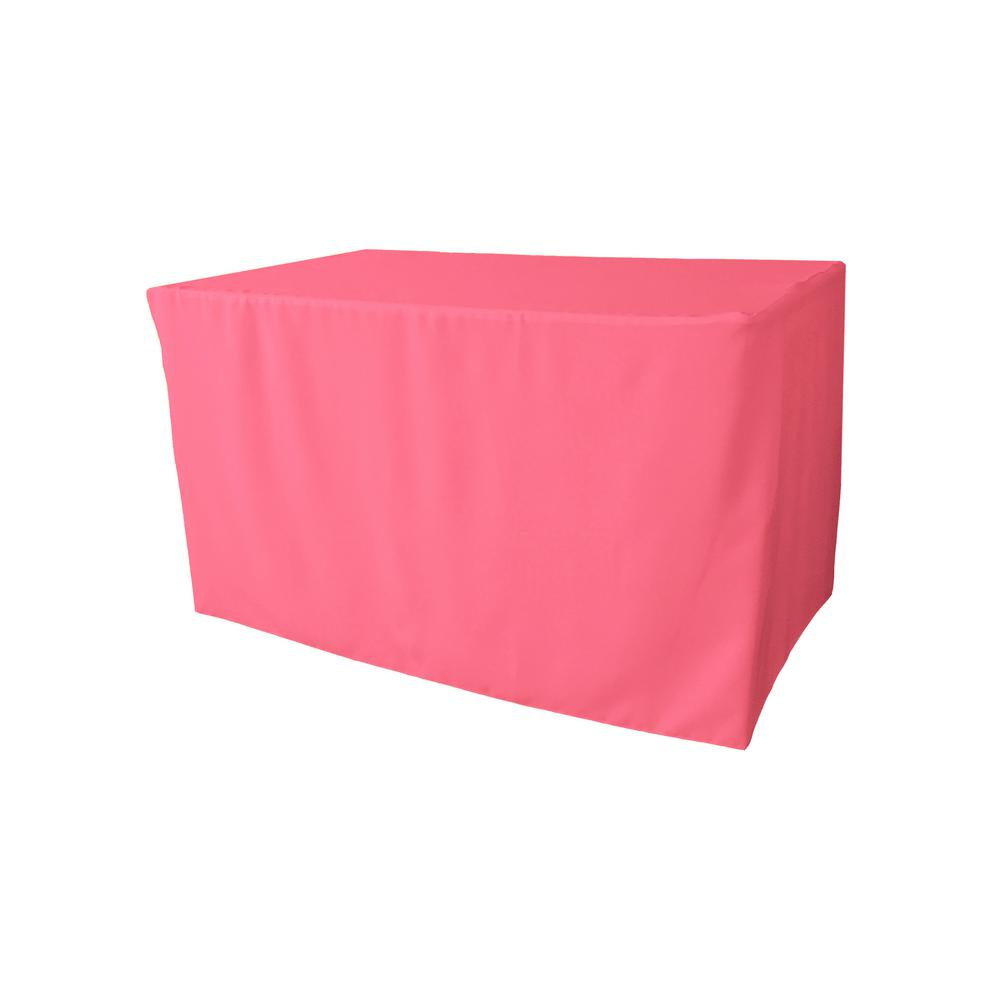 48 in. L x 24 in. W x 30 in. H Hot Pink Polyester Poplin Fitted Tablecloth