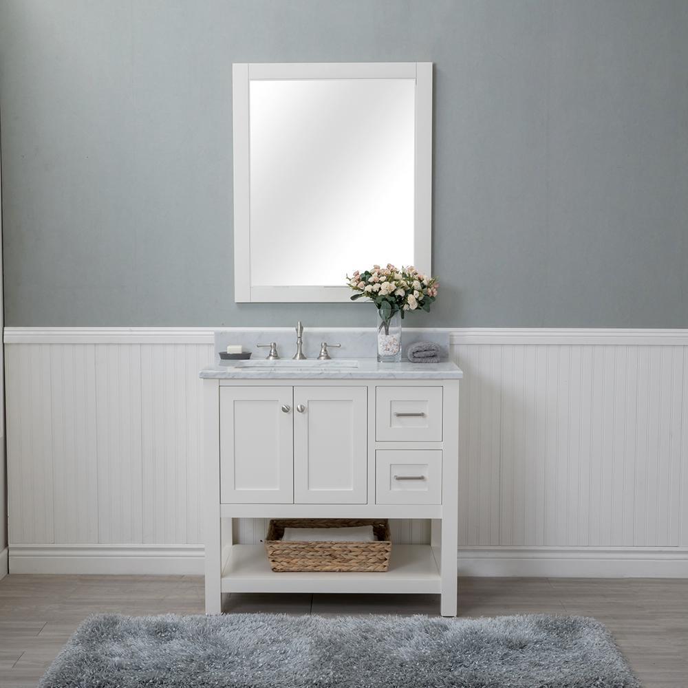 Wilmington 36 in. W x 22 in. D Vanity in Linen White with Marble Vanity Top in White with White Basin and Mirror