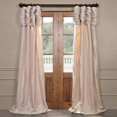 Antique Beige Ruched Light Filtering Faux Solid Taffeta Curtain - 50 in. W x 96 in. L