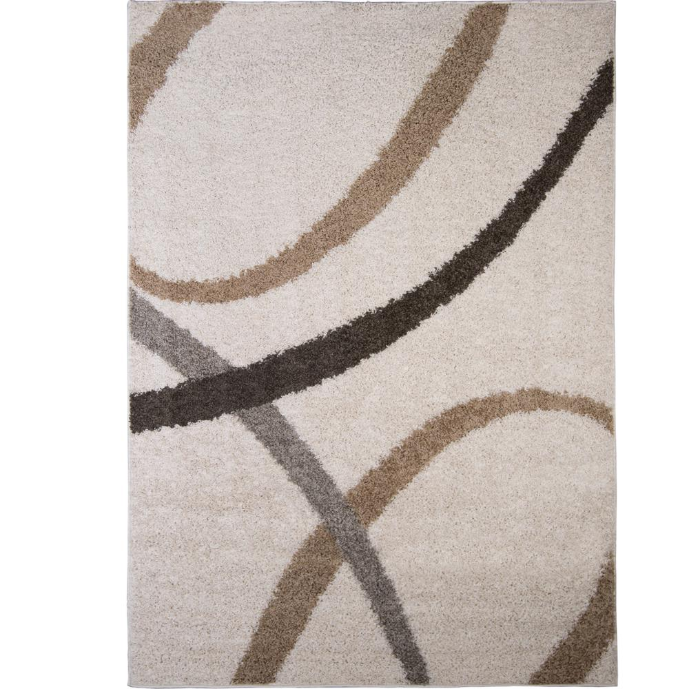 Nicole Miller Synergy White Beige 5 Ft X 7 Indoor Area Rug