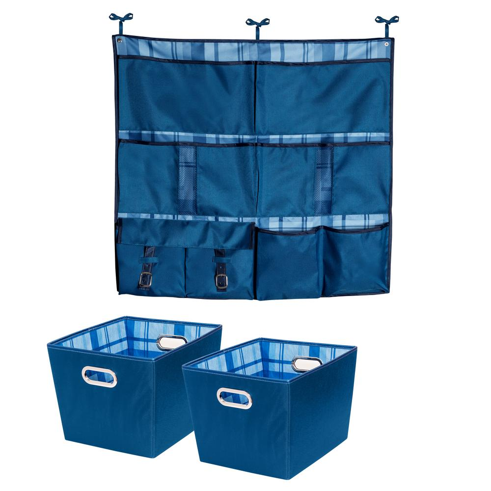 10 lb. Hanging Organizer with 15.75in. x 10.8in. Blue Polyester Bin