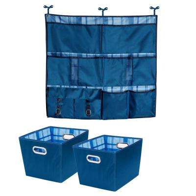 10 lb. Hanging Organizer with 15.75in. x 10.8in. Blue Polyester Bin (2-Pack)