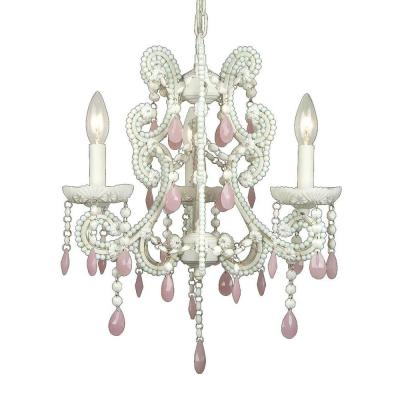 Xavier 3-Light Pink Chandelier
