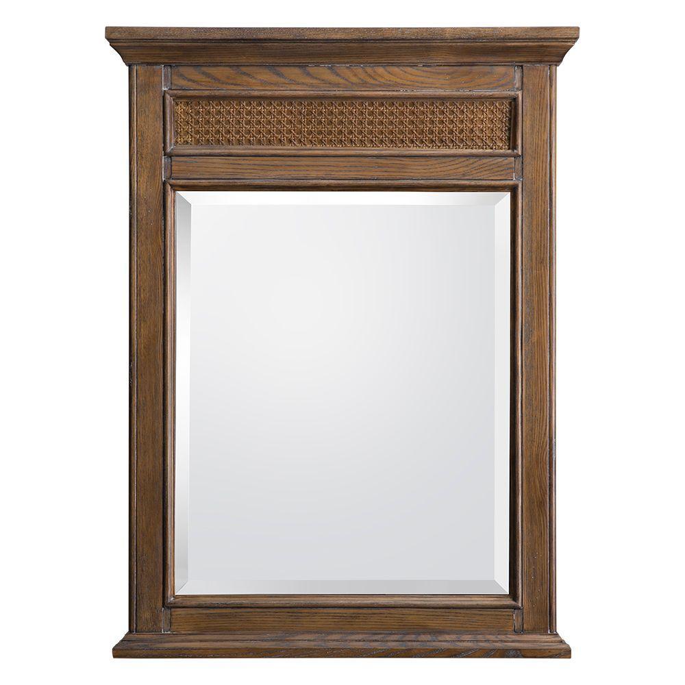 Bralon 24 in. x 32 in. Single Wall Hung Mirror in Whitewashed Oak