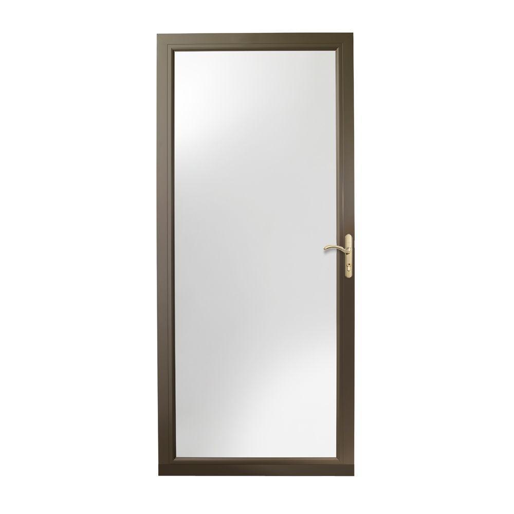 36 in. x 80 in. 3000 Series Terratone Right-Hand Fullview Easy Install Aluminum Storm Door with Brass Hardware