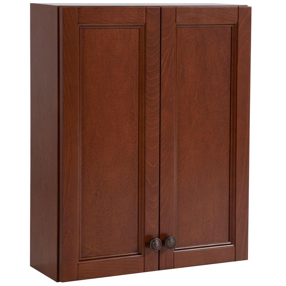 Home Decorators Collection Catalina 20-1/2 in. W x 25-3/5 in. H x 7-3/5 in. D Over the Toilet Bathroom Storage Wall Cabinet in Amber