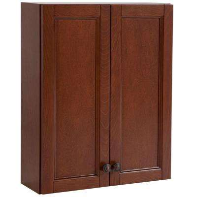 Catalina 20-1/2 in. W x 25-3/5 in. H x 7-3/5 in. D Over the Toilet Bathroom Storage Wall Cabinet in Amber