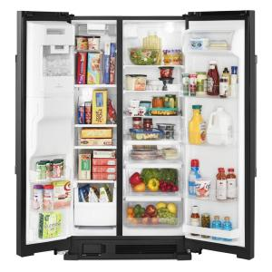 Maytag 25 Cu Ft Side By Side Refrigerator In Black With Exterior Ice And Water Dispenser Mss25c4mgb The Home Depot