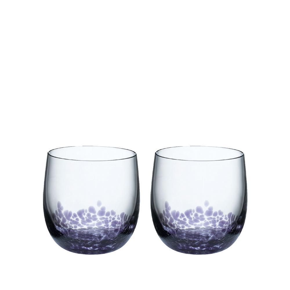 Amethyst 10.14 oz. Clear/Purple Glass Tumbler (2-Pack)