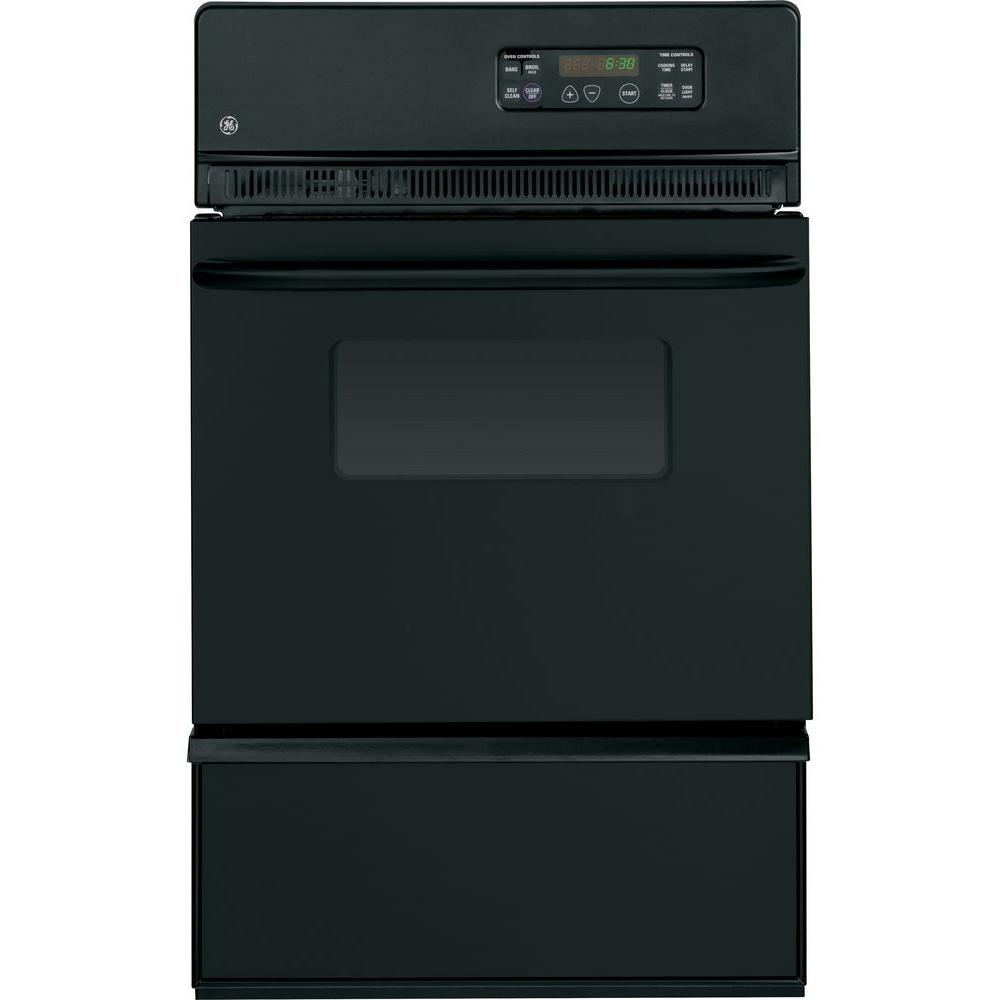 GE 24 in. Single Gas Wall Oven Self-Cleaning in Black GE appliances provide up-to-date technology and exceptional quality to simplify the way you live. With a timeless appearance, this family of appliances is ideal for your family. And, coming from one of the most trusted names in America, you know that this entire selection of appliances is as advanced as it is practical. Color: Black.