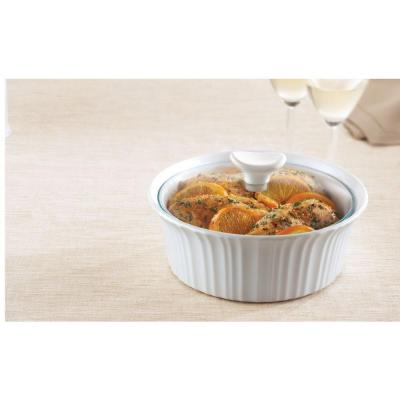 French White 1.5-Qt Round Ceramic Casserole Dish with Glass Cover