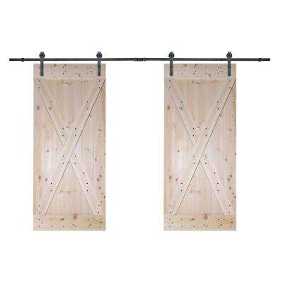 72 in. x 84 in. X-Panel Unfinished Solid Core Knotty Pine Barn Door with Sliding Door Hardware Kit