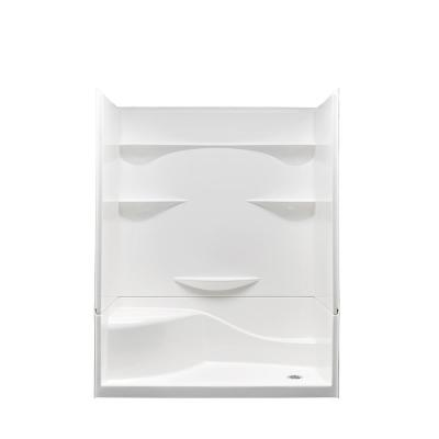 Varia 30 in. x 60 in x 76 in. 4 -pc AcrylX Acrylic Finished Shower Stall with Right Drain and Left Seat in White