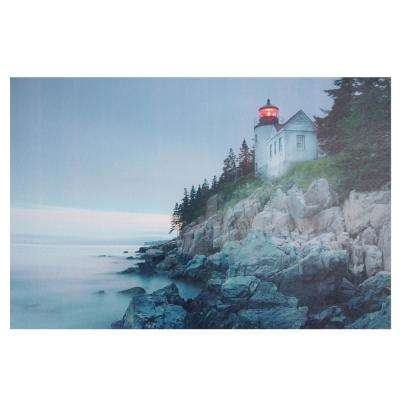 15.75 in. x 23.5 in. LED Lighted Lighthouse Home with Morning Sunrise Canvas Wall Art