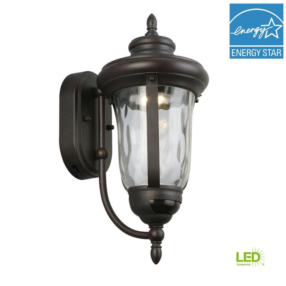 OUTDOOR WALL LANTERN LIGHT Metal Glass Bronze Multiple Directions Motion Sensor