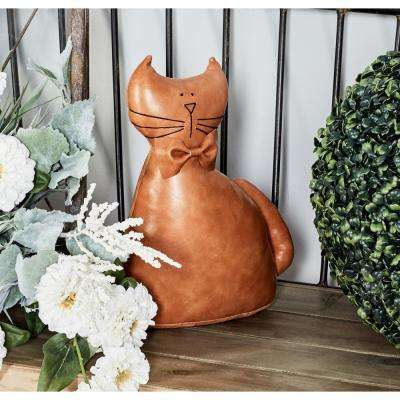 Brown Polyurethane Leather and Cotton Cat Door Stopper