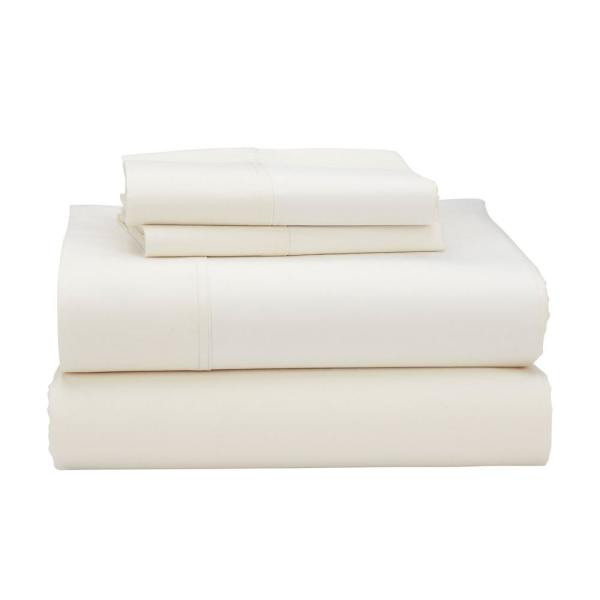 The Company Store 3-Piece Ivory 300-Thread Count Bamboo Cotton Twin Sheet Set