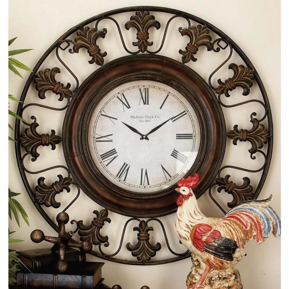 Litton Lane 38 In Traditional Fleur De Lis Iron Wall Clock 75621 The Home Depot