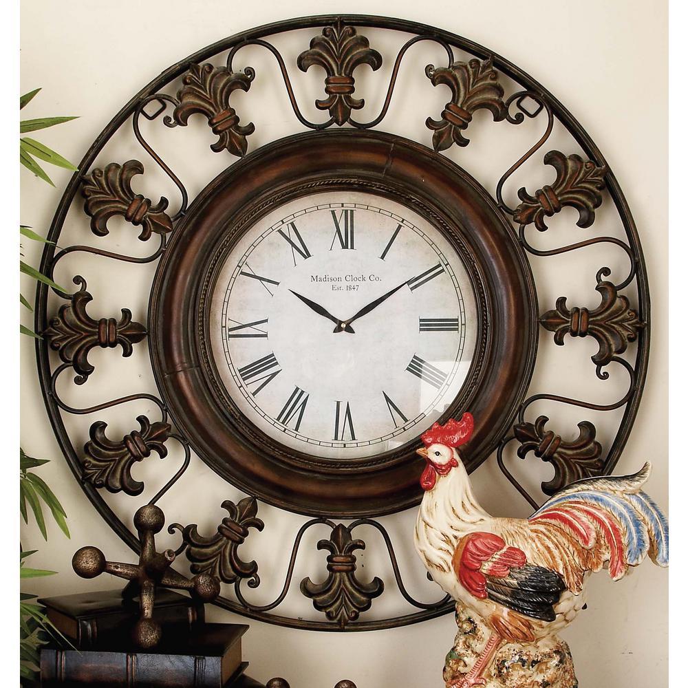 38 In Traditional Fleur De Lis Iron Wall Clock 75621