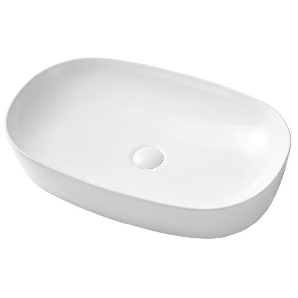 Mini Kong Felton Countertop Porcelain Ceramic Oval Vessel Sink In White With Single Bowl 24 02 In X 14 96 In X 4 72 In Skysh18059ov The Home Depot