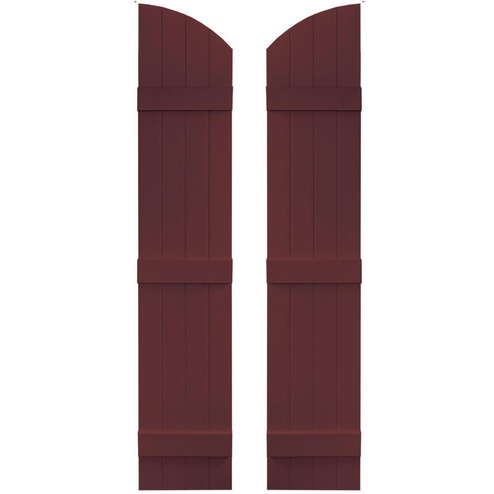 14 in. x 65 in. Board-N-Batten Shutters Pair, 4 Boards Joined with Arch Top #167 Bordeaux