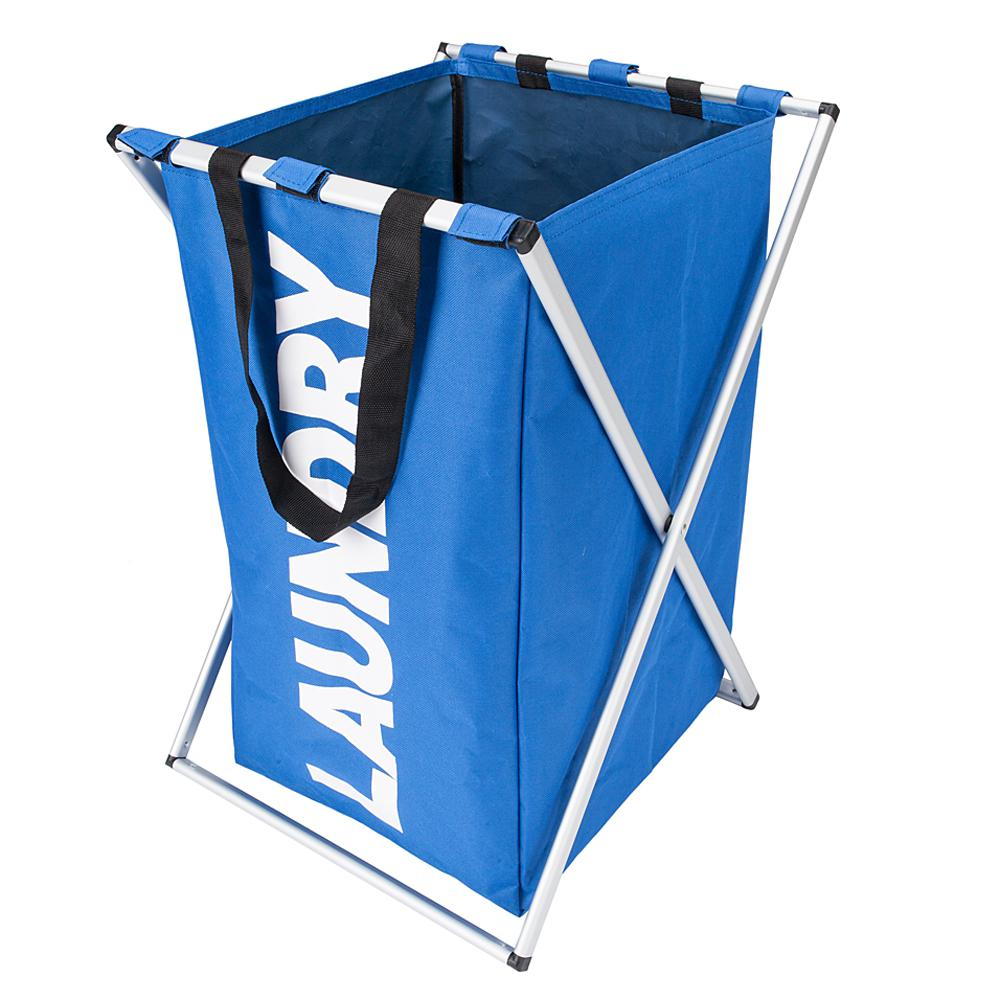 Blue Fabric Aluminum Alloy Single Lattice Storage Laundry Basket