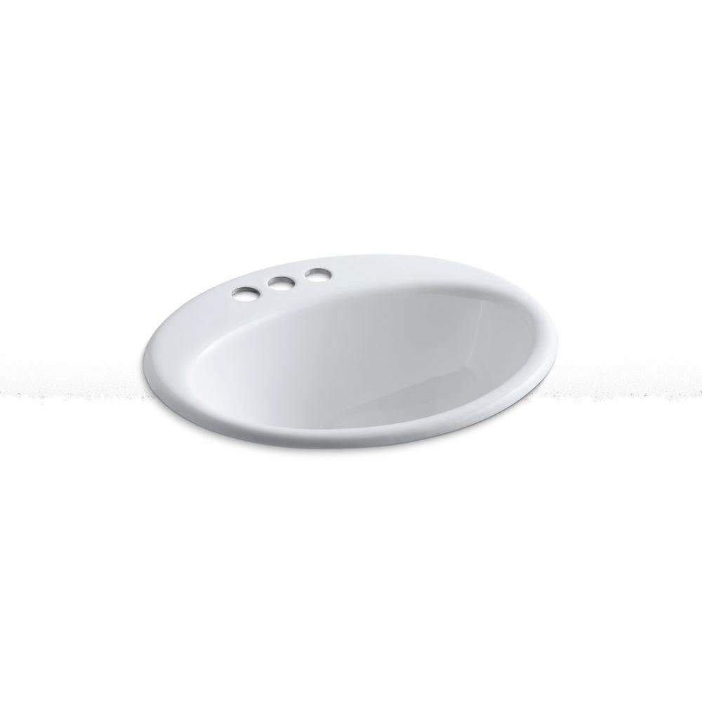 Kohler Farmington Drop In Cast Iron Bathroom Sink White With Overflow Drain