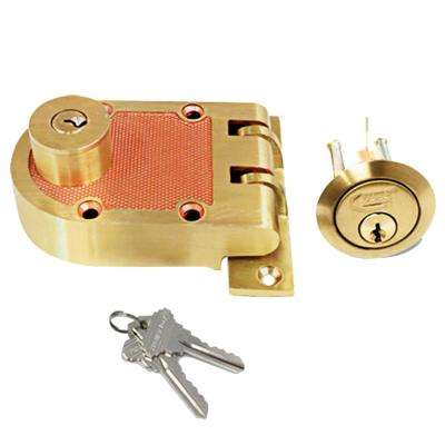 Solid Brushed Brass Heavy-Duty Jimmy Proof Double Cylinder Deadbolt Lock with Flat Strike and 2 SC1 Keys