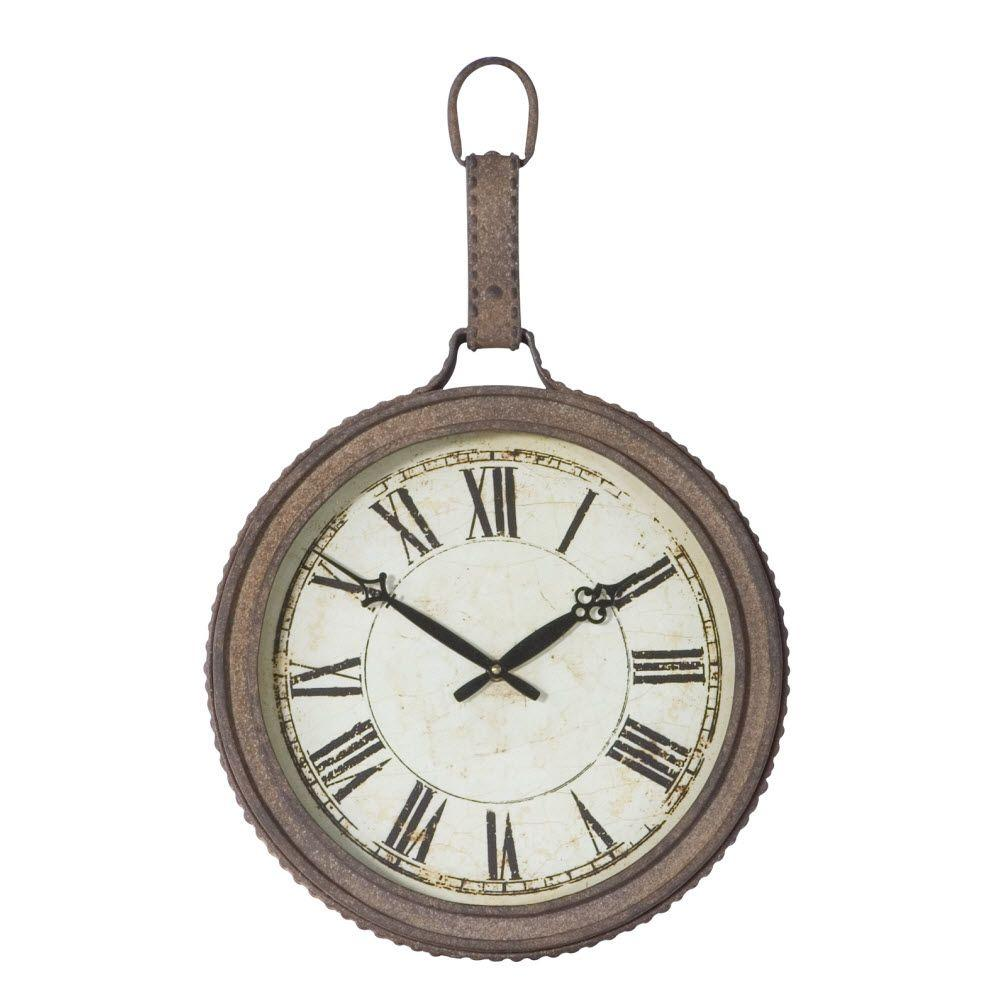 Home Decorators Collection Lexington 11.25 in. Light Rust Round Wall Clock