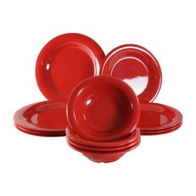 Pure Red Dinnerware Set (12 Piece)