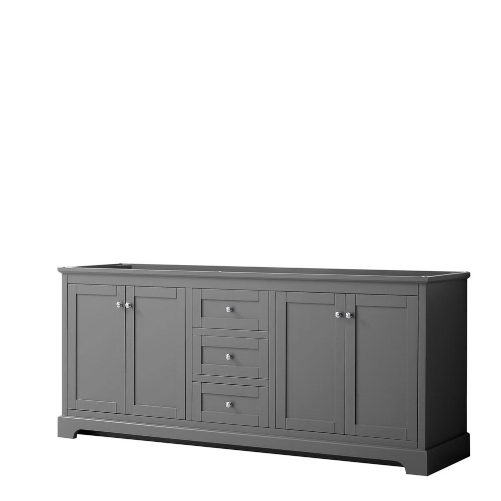 Wyndham Collection Avery 79 in. W x 21.75 in. D Bathroom Vanity Cabinet Only in Dark Gray