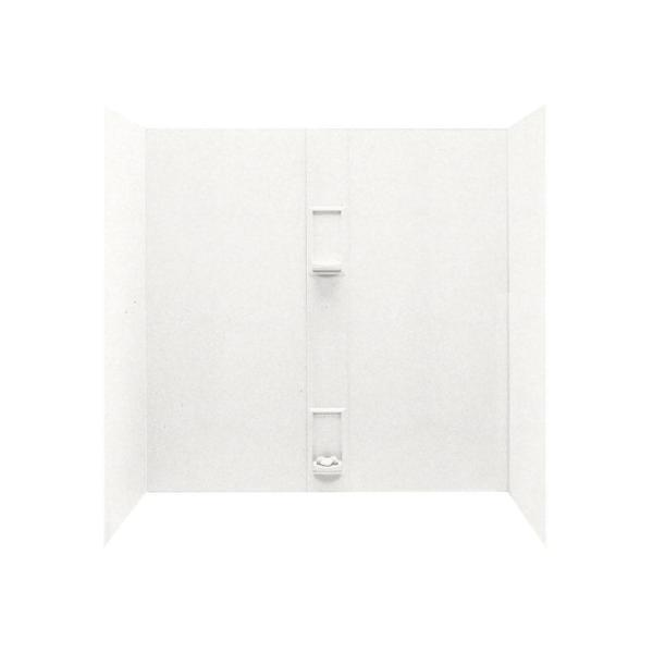 30 in. x 60 in. x 60 in. Solid Surface 5-piece Easy Up Adhesive Alcove Tub Surround in Tahiti White