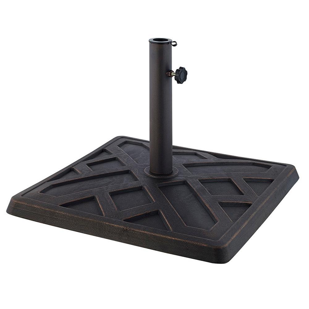 Square Metal Patio Umbrella Base in Antique Bronze