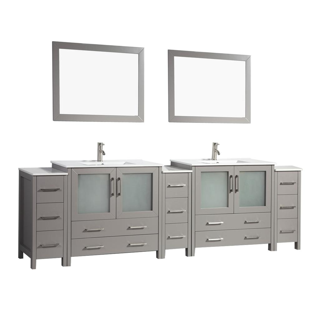 Vanity Art Brescia 108 in. W x 18 in. D x 36 in. H Bathroom Vanity in Grey with Double Basin Top in White Ceramic and Mirrors