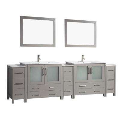 Brescia 108 in. W x 18 in. D x 36 in. H Bathroom Vanity in Grey with Double Basin Top in White Ceramic and Mirrors