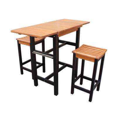3-Piece Dual Toned Wood Kitchen Island Set with 2 Stools