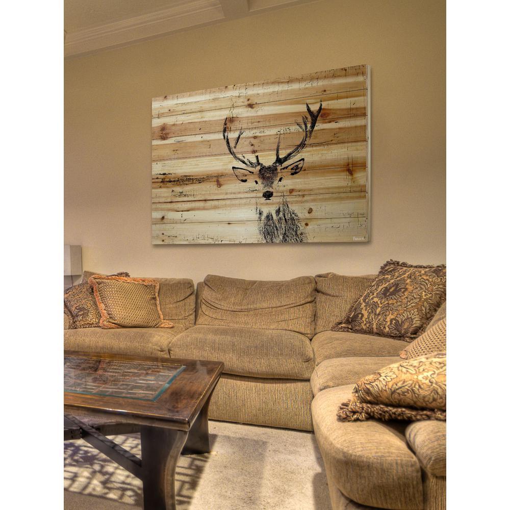 "40 in. H x 60 in. W ""Inquisitive Deer"" by Parvez Taj Printed Natural Pine Wood Wall Art"