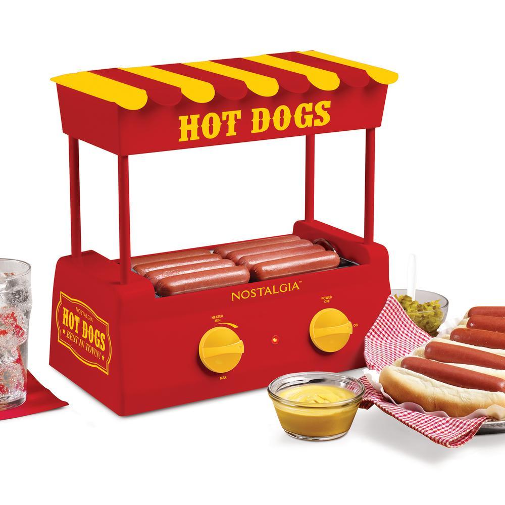 Red 8-Hot Dog Roller and 6-Bun Warmer