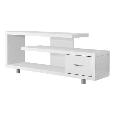60 in. White Particle Board TV Stand with 1-Drawer Fits TVs Up to 58 in.