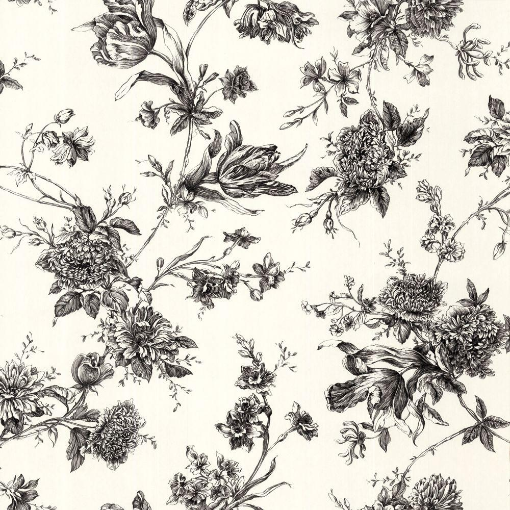 The Wallpaper Company 56 sq. ft. Black and White Large Floral Wallpaper