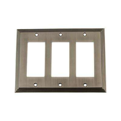 Deco Switch Plate with Triple Rocker in Antique Pewter